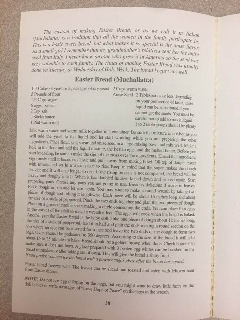 Page of a cookbook, showing recipe for Easter Bread (Muchallatta)