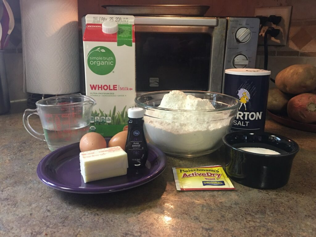 Still life of ingredients used to make Easter bread