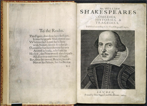 Preface and title page image of the first folio: British Library