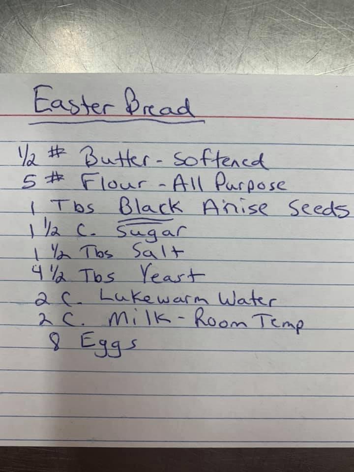 Handwritten ingredient list for Easter Bread