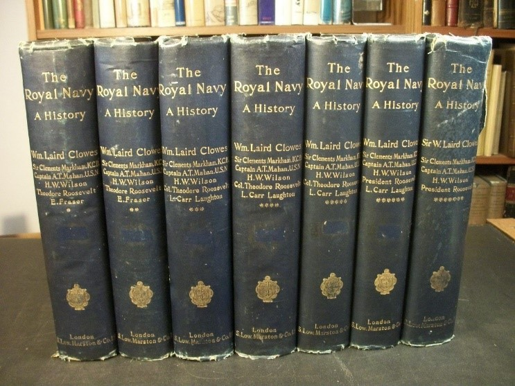 "Row of book spines of the set ""The Royal Navy, A History"""