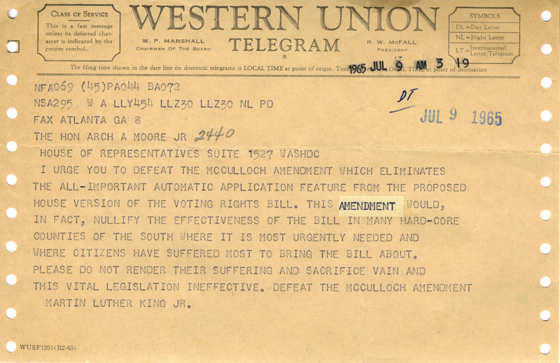 Western Union telegram from Martin Luther King Jr. to U.S. Representative Arch Moore, urging the defeat of the McCulloch Amendment