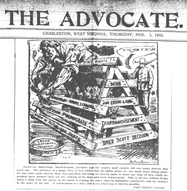 "Political cartoon from ""The Advocate"" newspaper, depicting an African American man being whipped, with text such as ""Jim Crow Laws"", ""Disenfranchisement"", etc."