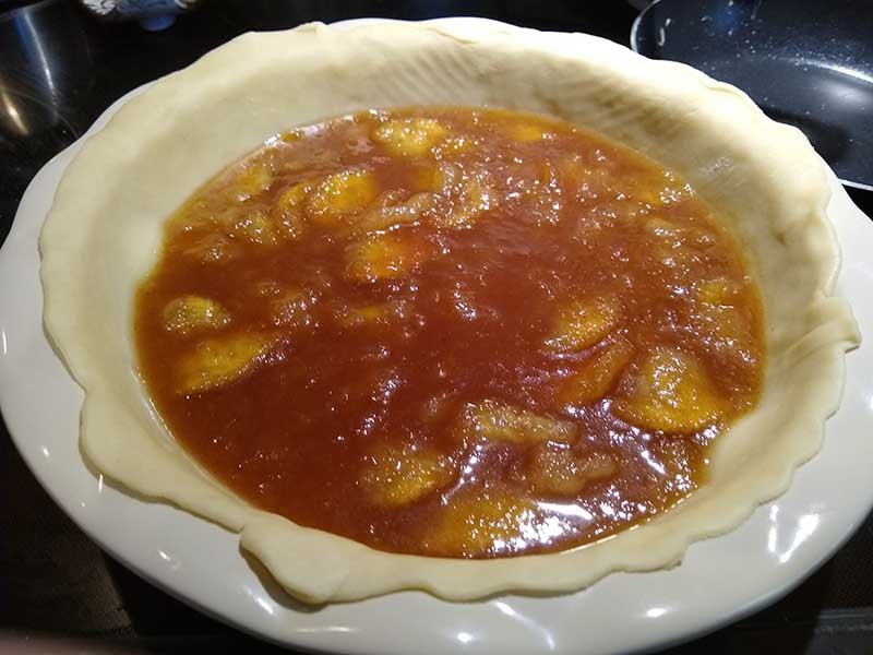 Mock apple pie filling in unbaked pie shell