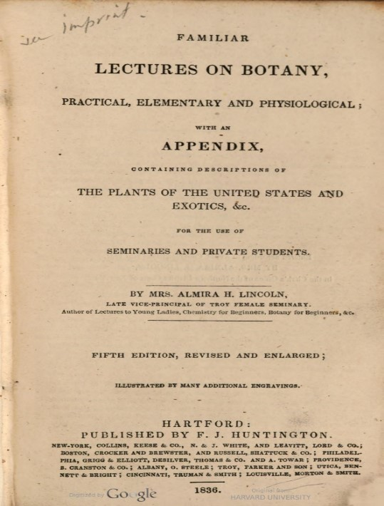 """Familiar Lectures on Botany"" title page"