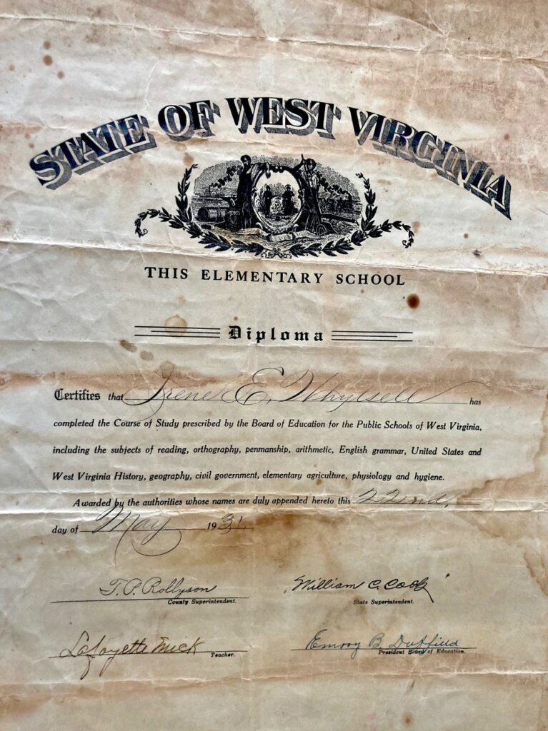 West Virginia elementary school diploma