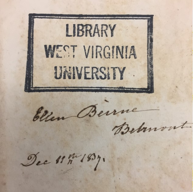 Page with a WVU Library stamp, signature, and date