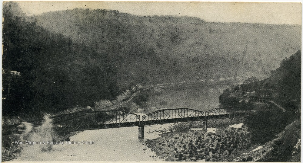 Railroad bridge across a river