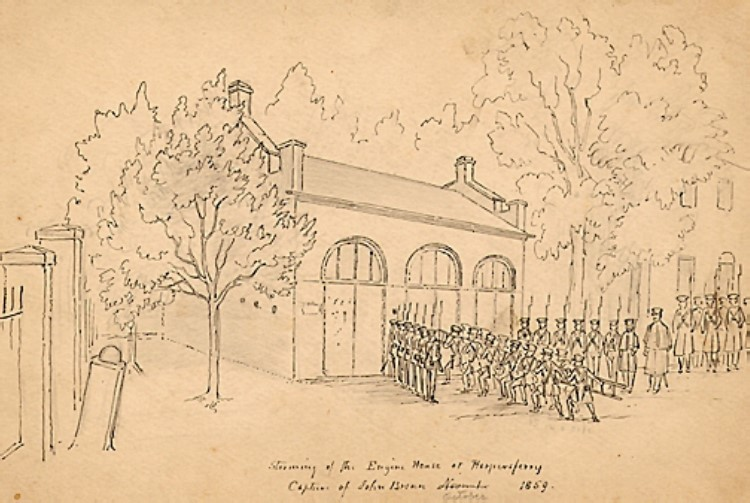 Sketch of the Harpers Ferry engine house, with soldiers in line in front of it