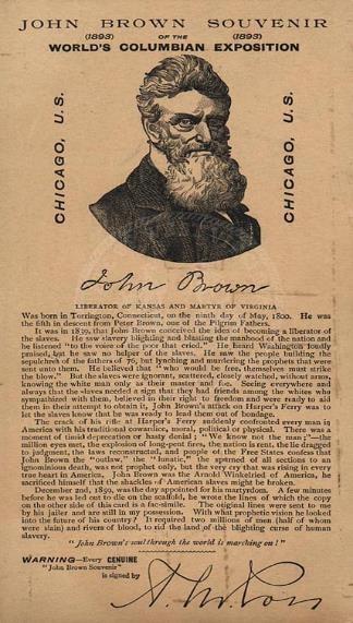 John Brown Souvenir ticket, with portrait of John Brown