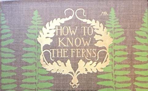 Cover of How to Know Ferns, showing green fern pattern and artist's initials