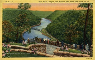 New River Gorge from Hawk's Nest Rock State Park, drawing