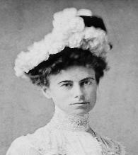 Portrait of Margaret Armstrong in flowered hat