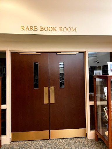 "Double doors with sign above that reads ""Rare Book Room"""