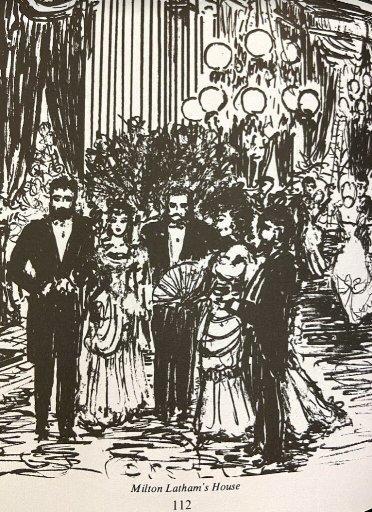 Sketch showing people in fancy dress at Milton Latham's house