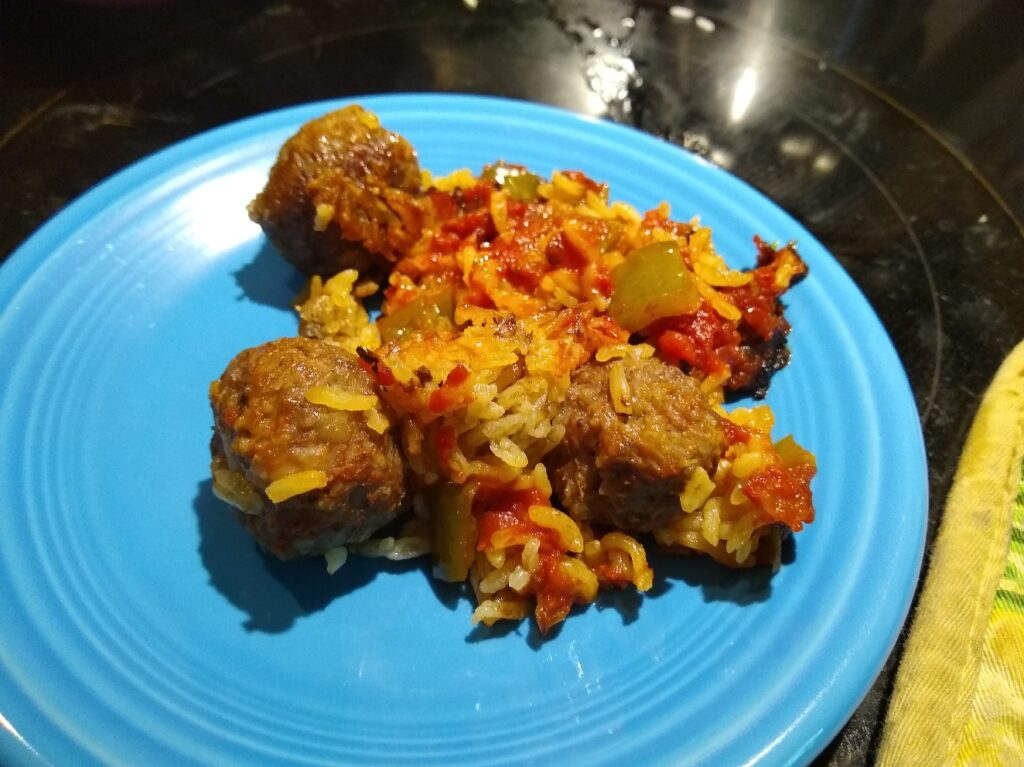 Completed meal of porcupine sausage balls on a plate