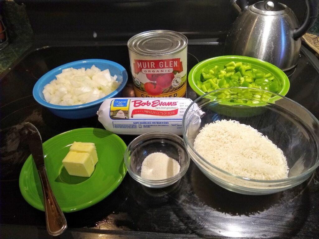 Ingredients for porcupine sausage balls