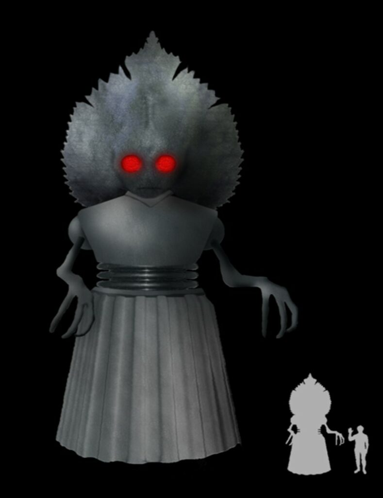 An artistic rendition of the Flatwoods monster that includes an image detailing the scale of the monster to an adult human male. The monster is nearly three times as tall as the adult.
