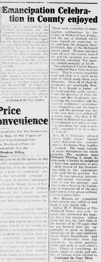 "Headline reads, ""Emancipation Celebrated in County enjoyed"""