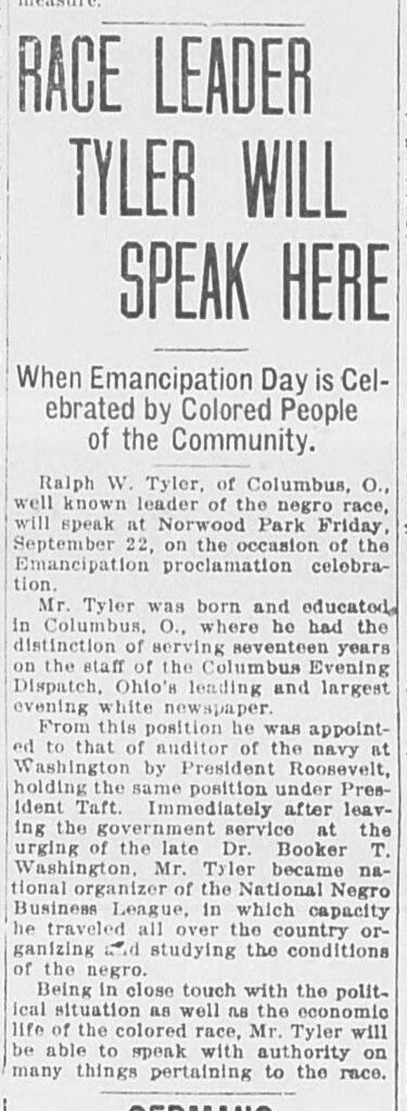 """Clipping begins, """"Race leader Tyler will speak here. When Emancipation Day is celebrated by colored people of the community."""""""
