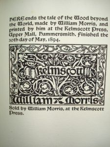 The colophon for The Wood Beyond the World