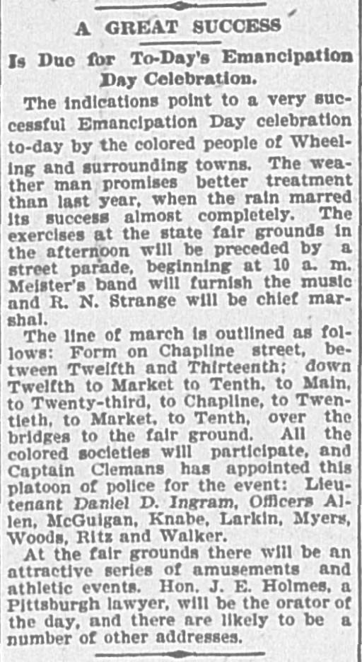 """Clipping begins, """"A Great Success is due for to-day's Emancipation Day Celebration."""""""