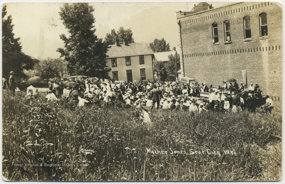 Postcard of Mother Jones' rally in Star City
