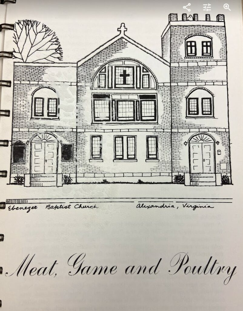"""A page from a cookbook introducing the chapter, """"Meat, Game and Poultry"""" featuring an illustration of Ebenezer Baptist Church in Alexandria, Virginia"""