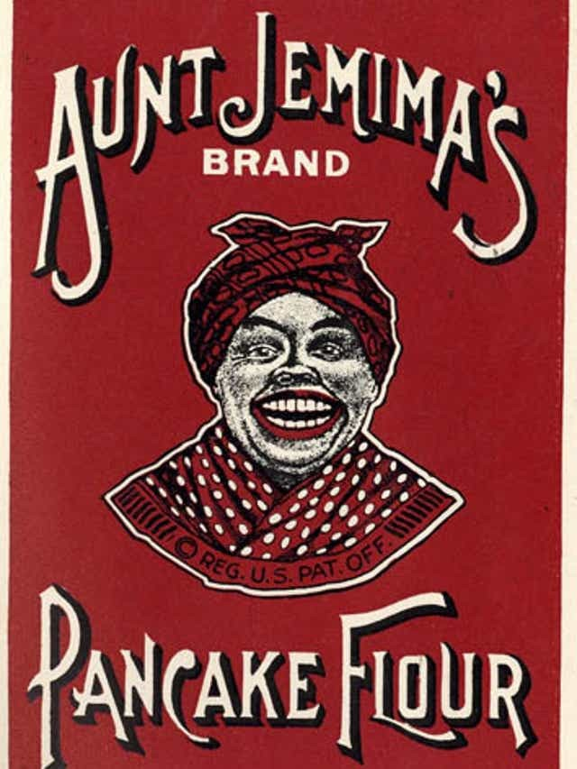An old advertisement for Aunt Jemima's Brand Pancake Flour featuring a racial caricature of a Black woman