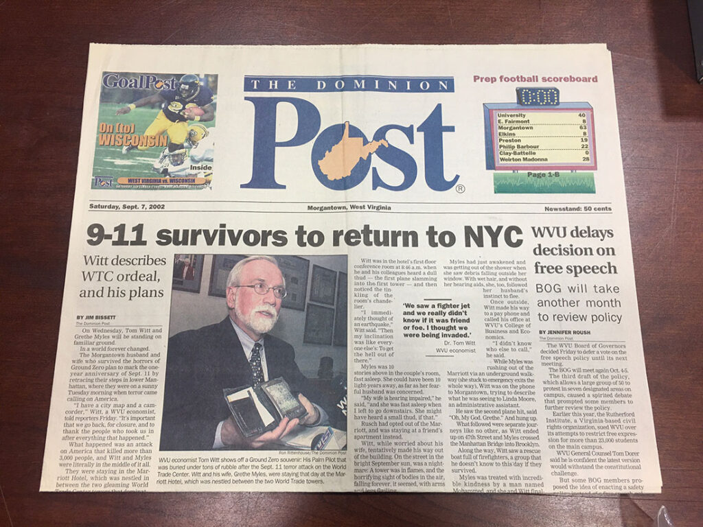 """Front page of Dominion Post newspaper with headline """"9-11 survivors to return to NYC"""""""