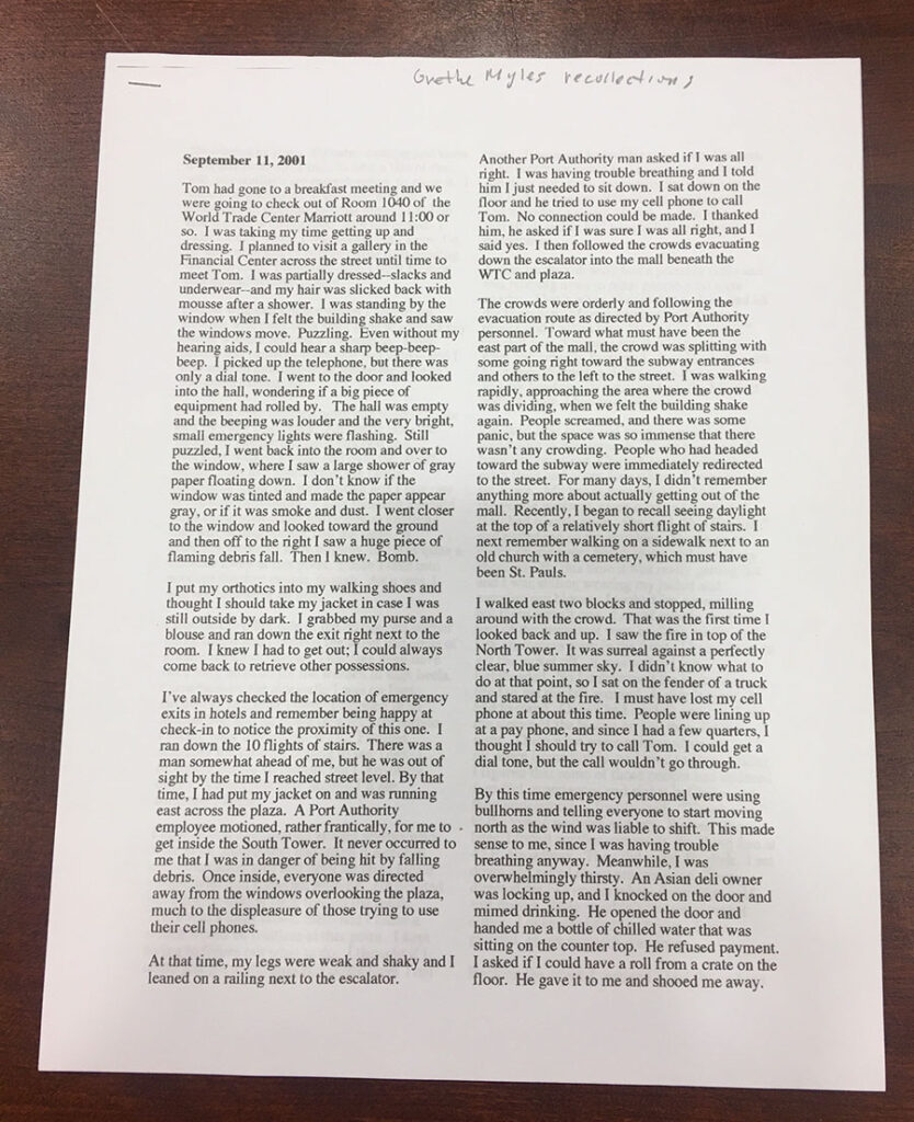 Typed sheet of paper with Grethe Myles' recollections of being in NYC on Sept. 11, 2001