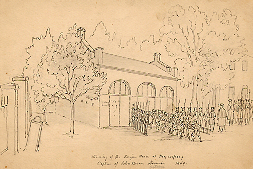 Storming of the Engine House at Harper's Ferry/Capture of John Brown, by David Hunter Strother, from A&M 2894, David Hunter Strother, Artist, Artwork and Papers